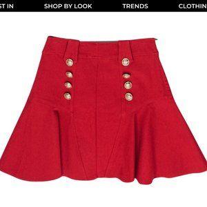 Derek Lam 10 Crosby Red Flared Skirt Gold Buttons